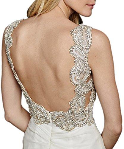 Victory Bridal Elegant Elfenbein Applikation Chiffon Hochzeitskleider Brautkleider Brautmode Geraft Lang