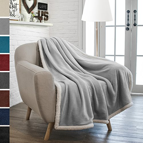 Premium Sherpa Throw Blanket by Pavilia | Super Soft, Cozy, Lightweight Microfiber, Reversible, All Season for Couch or Bed (50 x 60 inches, Light Gray) (Blanket Gray Throw Fleece)
