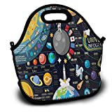 New Horizons of Solar System Pluto Venus Mars Jupiter Skyrocket Adult Lunch Box Insulated Lunch Bag Tote Bag for Men Women Teens Boys Girls