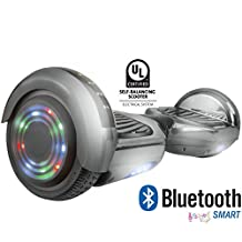 Gyrocopters Pro Hoverboard UL2272 Chrome Black Certified with Bluetooth Speaker. 2018 Model and Best self Balance Software. Front and Top LED Light for Safety