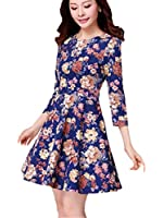Cutie Women 'S Fashion Long Sleeve Floral Mini Dress (3xl)