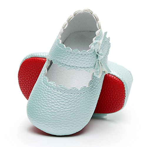 HONGTEYA Infant Baby Girls Red Sole Ballet Dress Shoes Mary Jane Princess Soft Sole Frist Walkers Crib Moccasins (6-12 Months/US 5/4.72''/See Size Chart, Blue)