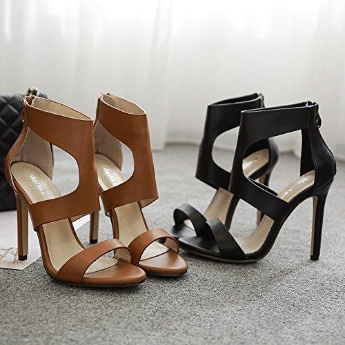 Zapatos Tacón Sexy de Las de Marrón y Elegantes Claro ZHZNVX 39 Alto y Rosca Sandalias Elegante Tacón de Alto expuesta Sandalias Romana PvqZpFx