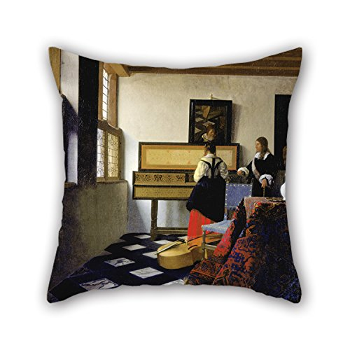 Vermeer Dot - Throw Pillow Covers Of Oil Painting Johannes Vermeer - Lady At The Virginal With A Gentleman, 'The Music Lesson' 18 X 18 Inches / 45 By 45 Cm Best Fit For Office Gf Teens Kids Boys Bedroom Home Th