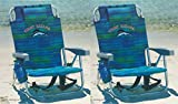 Automotive : Tommy Bahama 2 2016 Backpack Cooler Beach Chair with Storage Pouch and Towel Bar (Blue Stripe)