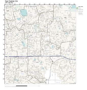 San Gabriel Zip Code Map.Amazon Com Zip Code Wall Map Of San Gabriel Ca Zip Code Map Not