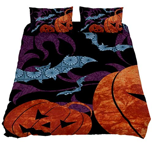 LORVIES Spooky Halloween Background Duvet Cover Set, 3 Pieces - Microfiber Comforter Quilt Bedding Cover with Zipper Decorative Bedding Sets with Pillow Shams for Men Women Boys Girls Kids Teens -