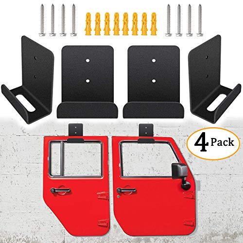 Sunluway Jeep Wrangler CJ YJ TJ LJ JK JKU and All New JL Door Storage Hanger Rack Bracket Hanging (Pack of 4)