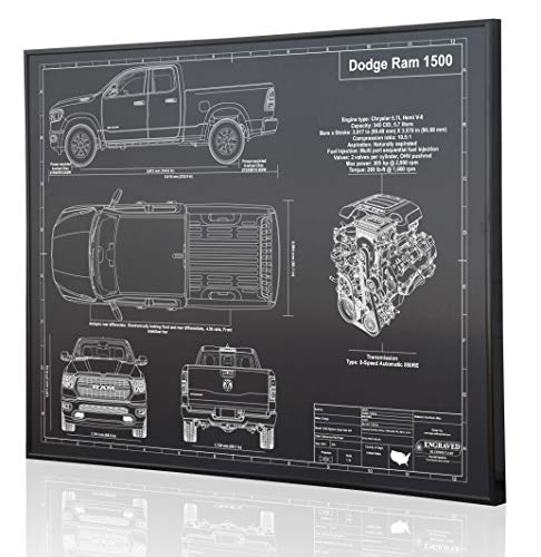 Dodge Ram 1500 (2019) Blueprint Artwork-Laser Marked & Personalized-The Perfect Dodge Gifts ()