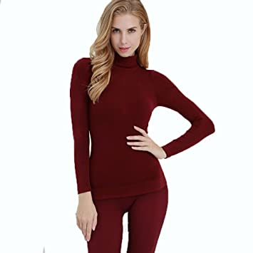 LVLIDAN Mujer Ropa interior térmica Manga larga pantalón invierno Cuello alto sección delgada color sólido bomba