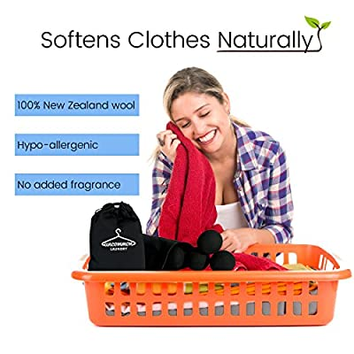 NoLint BLACK WOOL DRYER BALLS: for Dark Laundry|Clothes 4 Pack, Organic|Natural|Eco-Friendly, HypoAllergenic, Chemical-free Alternative to Dryer Sheets|Fabric Softener - Reduces Lint/Static/Wrinkles