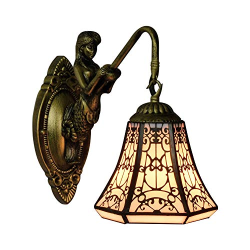 LITFAD Single Light Wall Sconce with Mermaid Lamp Arm 6