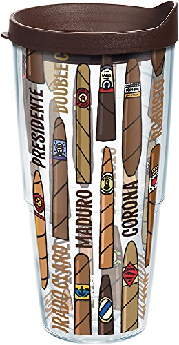Tervis 1208044 Cigars Tumbler with Wrap and Brown Lid 24oz, Clear