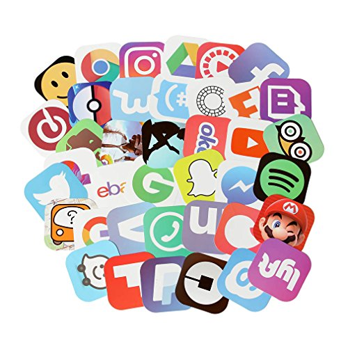App Stickers for Laptop 50 pcs Social Media Stickers Pack for Your Life (App -