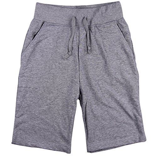 Urban Boundaries Mens Long Elastic Waist Drawstring Casual Shorts (Grey, X-Large)