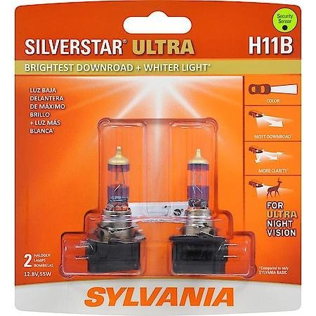 SYLVANIA H11B SilverStar Ultra Halogen Headlight Bulb, (Contains 2 Bulbs)