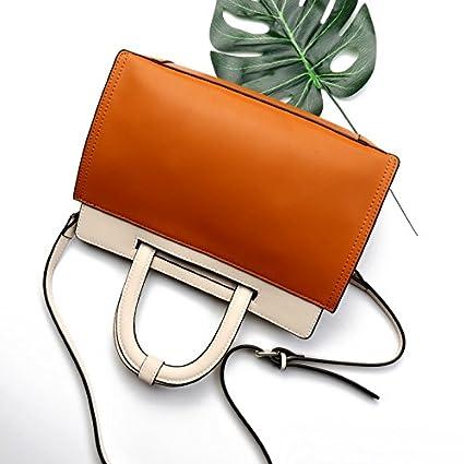Size MUMUWU Ladies Handbag Contrast Fashion Single Shoulder Handbag Leather Bag Briefcase Black M