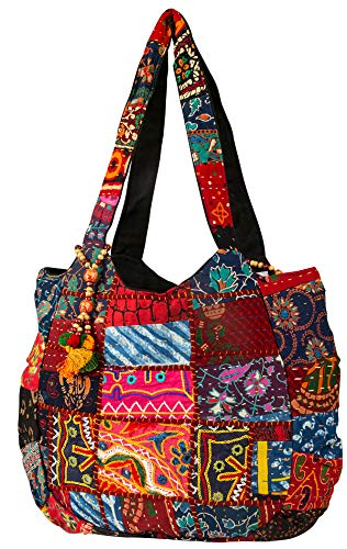 (Hippie Handmade Shoulder Beach Bag Tote Boho Chic Patchwork Embroidered Purse Red Casual Everyday Roomy Laptop School Market)