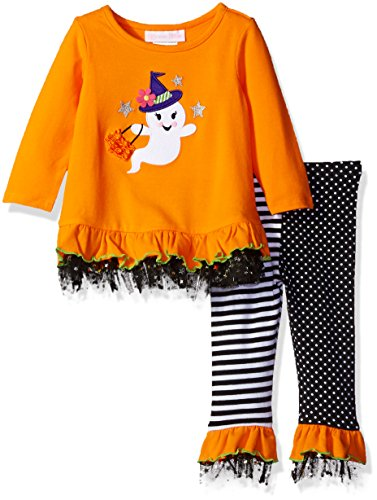 Bonnie Baby Baby Girls' Halloween Appliqued Legging Set, Happy Ghost, 12 Months -