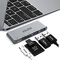KALENI USB C Hub Adapter, USB Type-C to usb 3.0 Multi-Port Adapter for New MacBook,with USB-C Charging Port, 2 USB 3.0 Ports, SD/Micro sd Card Reader 5 in 1(Space Gray)