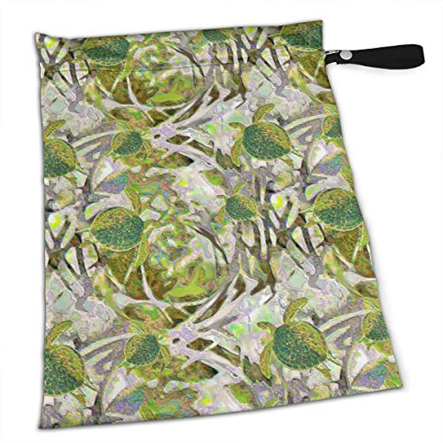 - YyTiin Reusable Snack and Everything Bags - Chartreuse Sea Turtles,Large
