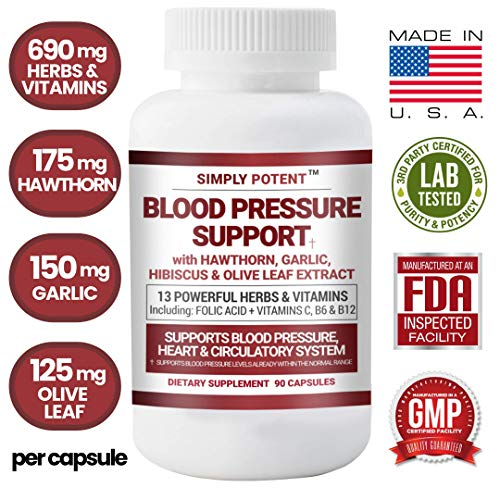 Blood Pressure Support Supplement, 90 Natural High Blood Pressure Capsules w/13 Vitamins & Herbs Including B12, Hawthorn, Olive Leaf, Garlic & Hibiscus for BP Hypertension, Heart & Circulatory Health
