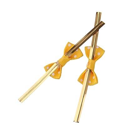 Sharplace 50 Stück Twist Ties mit Bowknot für Süßigkeitentüten Aufbewahrungsbeutel Weinachten Geschenk Verpackung - Gelb