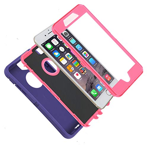 Case for iPhone 7 Plus/8 Plus,Heavy Duty 3 in 1 Built-in Screen Protector Cover Dust-Proof Shockproof Drop-Proof Scratch-Resistant Shell for Apple iPhone 7+/8+ 5.5inch,Purple/Pink2