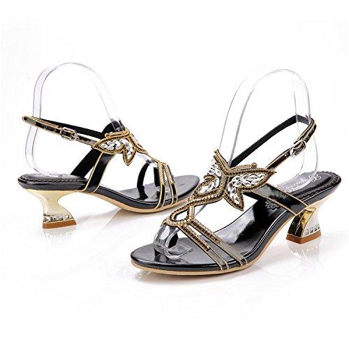 y diamantes punta abierta de sandalias bajo de mujer Sandalias con diamantes imitación con zapatos de de Damas Gruesos medio tacón de Negro cristal xqIZpqw