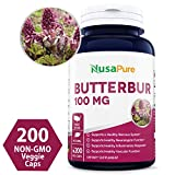 Butterbur Extract 100mg 200 Veggie Caps (Non-GMO, Vegetarian & Gluten Free) - Headache & Migraine Relief, Reduces Inflammation, Relieves Cold, Spasms & Pains