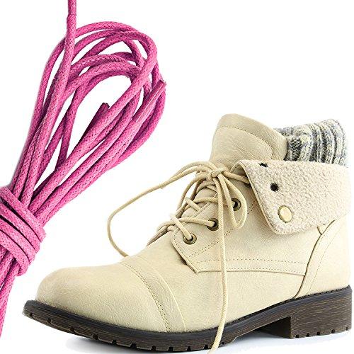 Daily Shoe Mujeres Combat Style Lace Up Sweater Top Tobillo Botín Con Bolsillo Para Tarjeta De Crédito Knife Money Wallet Pocket Botas, Pink Beige Pu