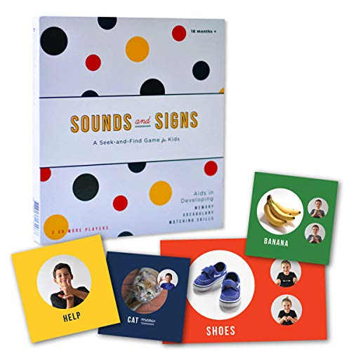 Sounds & Signs Matching Game for Toddlers and Babies - Speech Therapy Games, Baby Learning, Vocabulary and Sign Language Flash Cards Game with Animal Sounds and Shapes