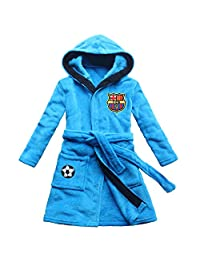 [FEETOO] Barcelona Soccer Team Embroidered Boy Bathrobe Robe Children's Nightgown