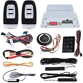 amazon com easyguard ec003 smart key pke passive keyless entry car Viper Car Alarm Wiring Diagram easyguard ec002 smart key rfid pke car alarm system passive keyless entry remote engine start starter push start button \u0026 touch password entry hopping code