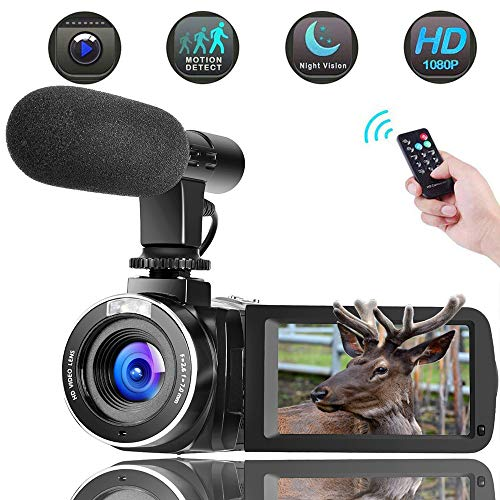 Video Camera Camcorder Vlogging Camera for YouTube with Microphone Full HD 1080p 30fps 24.0MP Support Touchscreen Remote Controller Night Vision