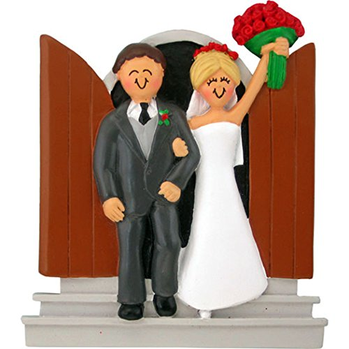Personalized Newlyweds Christmas Ornament for Tree 2018 - Just Married Ceremony Door Stairs Blonde Bride Dress Flower Groom Tuxedo - Romantic Love I do - Free Customization by Elves (Yellow Hair) by Ornaments by Elves