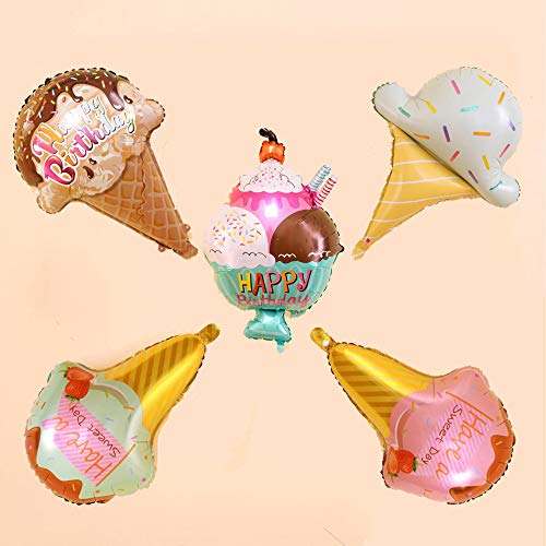 5 Pcs Ice Cream Foil Balloons - Large Sweet Candy Dessert Aluminum Mylar Party Balloons for Birthday Baby Shower Wedding Favors Party -