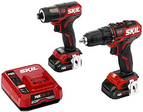 SKIL 2-Tool Drill Kit PWRCore 12 Brushless 12V 1 2 Inch Cordless Drill Driver and 1 4 Inch Hex Impact Driver, Includes Two 2.0Ah Lithium Batteries and One PWRJump Charger – CB736701