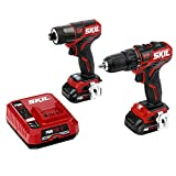 SKIL 2-Tool Drill Kit: PWRCore 12 Brushless 12V 1/2 Inch Cordless Drill Driver and 1/4 Inch Hex Impact Driver, Includes Two 2.0Ah Lithium Batteries and One PWRJump Charger - CB736701