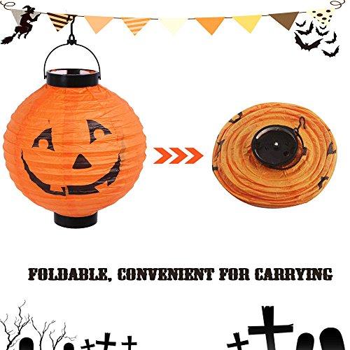 Diy Scarecrow Costume Hat ([Orange] New Halloween LED Paper Pumpkin Hanging Lantern DIY Holiday Party Decor Scary)