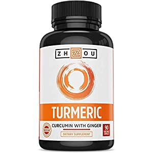 Turmeric Curcumin with Bioperine 1650mg – Includes 95% Curcuminoids & Ginger – Extra Strength Antioxidant for Maximum Joint Comfort & Mobility - Non-GMO & Gluten Free - 90 Veggie Capsules