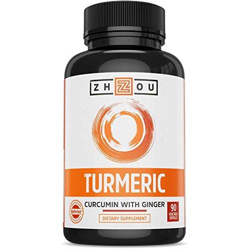 Turmeric Curcumin with Bioperine 1650mg – Includes 95% Curcuminoids & Ginger – Extra Strength Antioxidant for Maximum Joint Comfort & Mobility - Non-GMO & Gluten Free - 90 Veggie Capsules