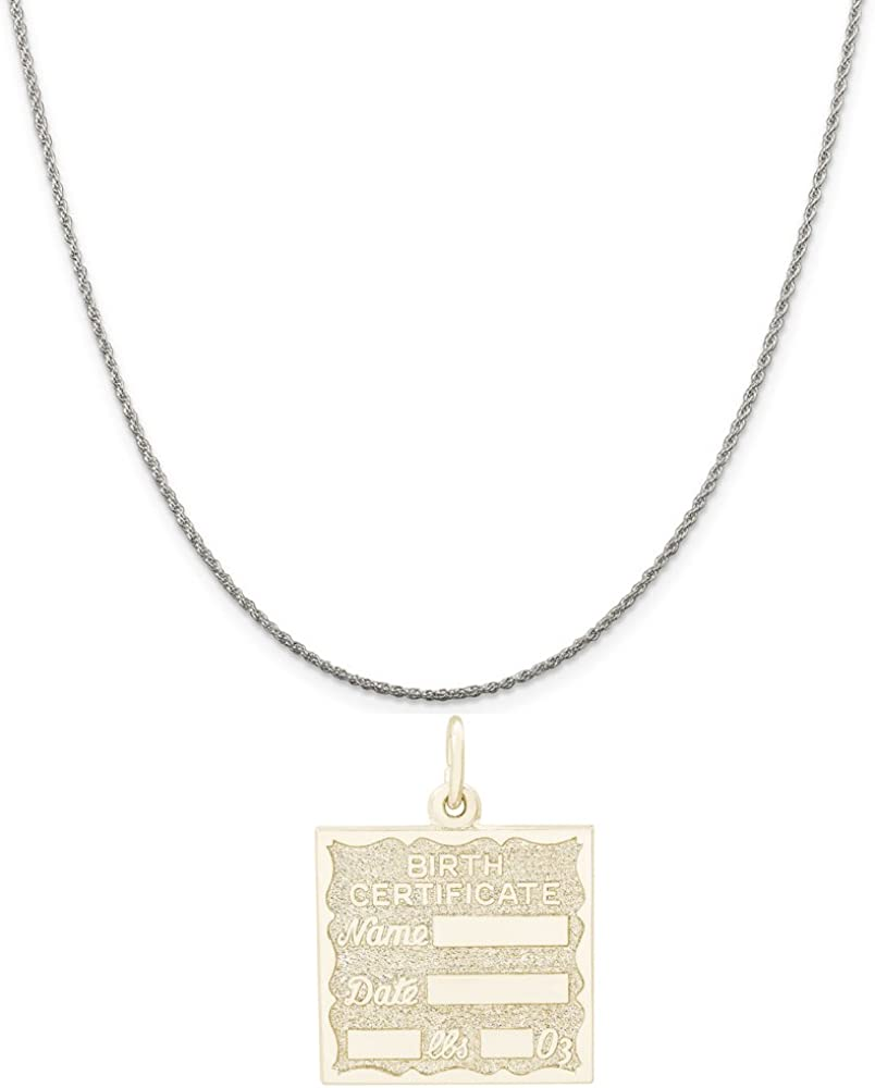 Rembrandt Charms Two-Tone Sterling Silver Birth Certificate Charm on a Sterling Silver 16 18 or 20 inch Rope Box or Curb Chain Necklace