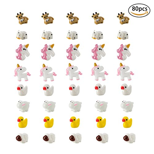 Charm Plastic (80 Pieces Slime Charms Decoration Resin Toy, Unicorn Owl Mermaid Duck Cow Sheep and Puppy Slime Beads Accessories Supply for DIY Homemade Decor Craft Making (4 Patterns/Each Style 20 PCS) (A))