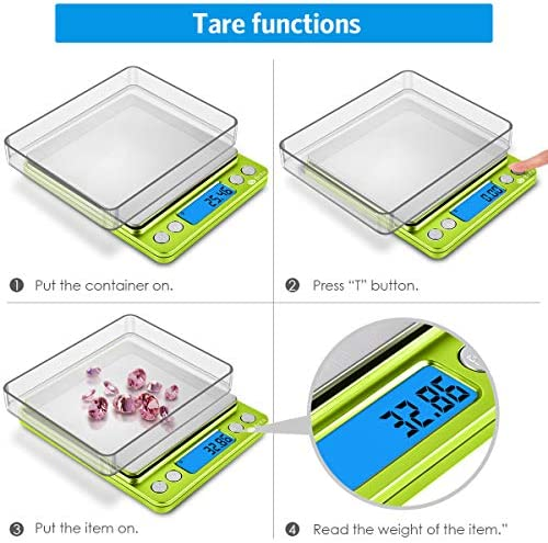 (Upgradaed) Brifit Digital Kitchen Scale, 500g-0.01g Mini Pocket Jewelry Scale, Cooking Food Scale with Backlit LCD Display, 2 Trays, 6 Units, Auto Off, Tare, Stainless Steel (Battery Included) 4