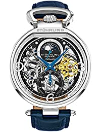 Stührling Original Mens Analog Skeleton Watch - Silver Dial with Black Gold and Blue Accents Blue Leather Band...