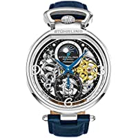 Stührling Original Mens Analog Skeleton Watch - Silver Dial with Black Gold and Blue Accents Blue Leather Band with Deployant Clasp - AM/PM Sun Moon Indicator, Dual Time, Mens Watches 889 Collection