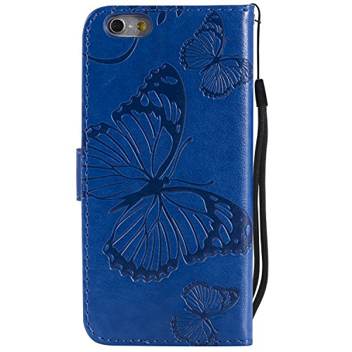 Papillons Fermeture en 6S avec Pouces Bleu iPhone Anti 6 Etui de par iPhone Carte 4 Apple Protection Coque Portefeuille Rabat Choc Cuir iPhone6S Porte Housse LOKTU214 7 iPhone6 pour Aimant Lomogo XOq0cw