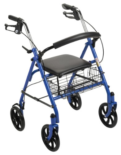 Drive Medical Rollator Walker with Fold Up and Removable Back Support and Padded Seat, Blue from Drive Medical