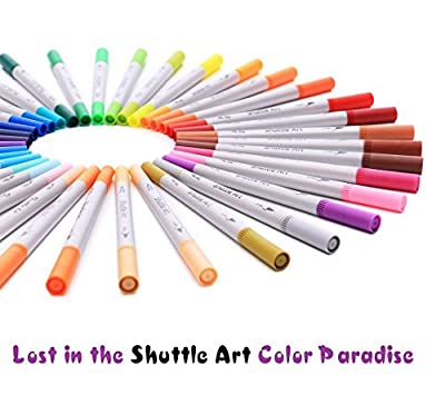 Shuttle Art 56 Colors Dual Tip Brush Pens Art Markers,Brush Tip with Fineliner 0.4 Markers Pen Set for Adult coloring books Bullet Journal
